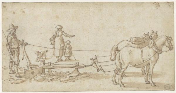 Jan I Brueghel, Laboureur, à la charrue traînée par deux chevaux