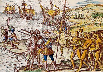 Le Débarquement de Colomb, Théodore de Bry